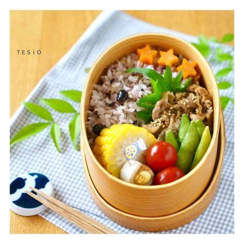 雑穀米と豚こまの甘辛炒め弁当