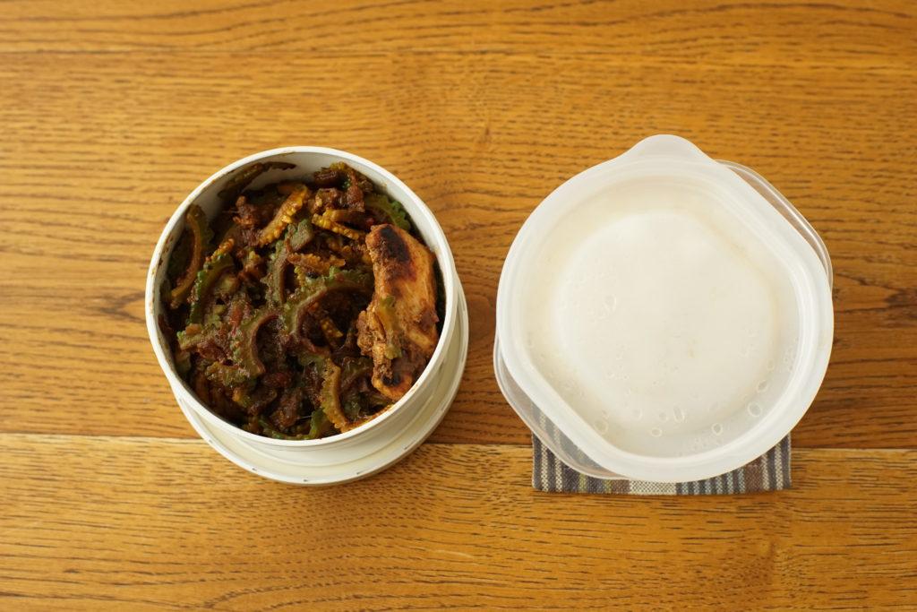 ゴーヤーと鶏肉のカレー炒め弁当