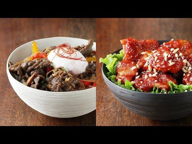【丼レシピ】どっちにする?韓国どんぶり2種(プルコギ&甘辛チキン)