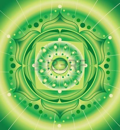 10200125-緑の抽象的なパターン、穴畑チャクラ-ベクトルの曼荼羅