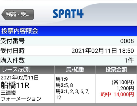 【無料情報】船橋9R