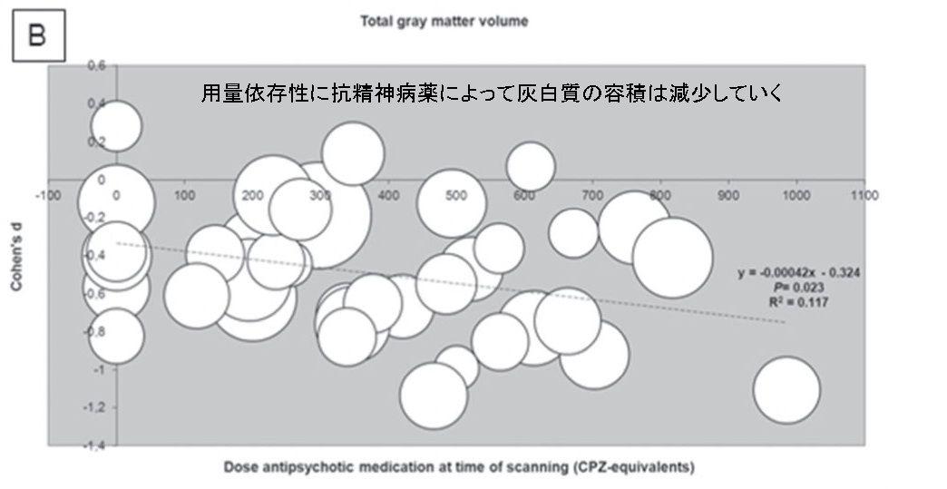grey matter change-5 抗精神病薬による脳への負の影響。その1 灰白質への影響