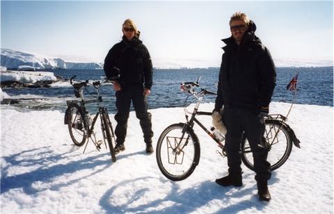 Jamie and Ben on ice with bike, Antarctica (Medium) (Small)