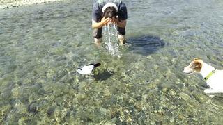 暑くて水をかぶる人