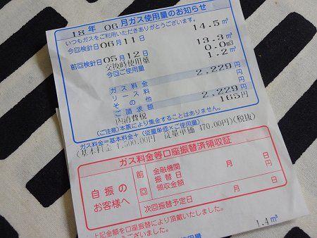 のほほん LPガス代 2018 6月