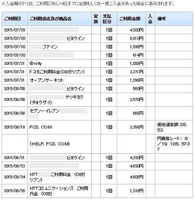 のほほん セゾンカード 9月請求2