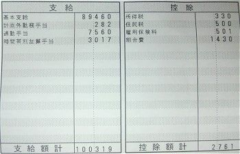のほほん 可哀想な給料明細 10月分
