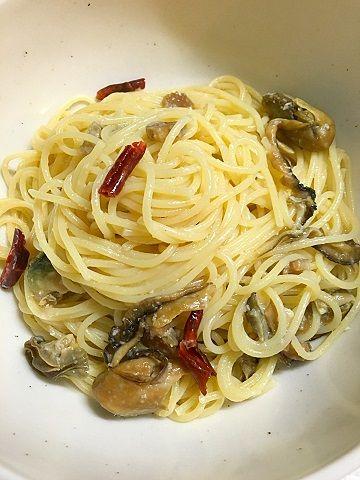 牡蠣のオイル漬けのペペロンチーノ@自宅
