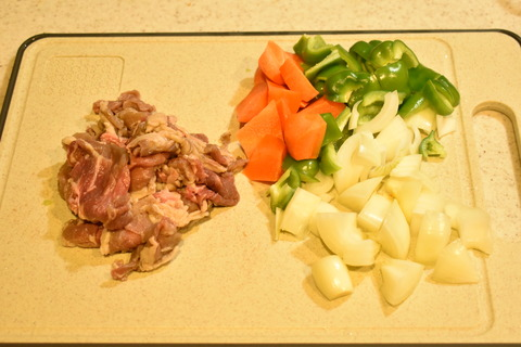 牛肉と揚げ野菜のオイスターソース炒め (3)