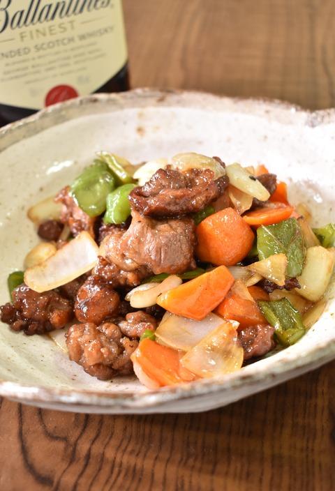 牛肉と揚げ野菜のオイスターソース炒め (2)