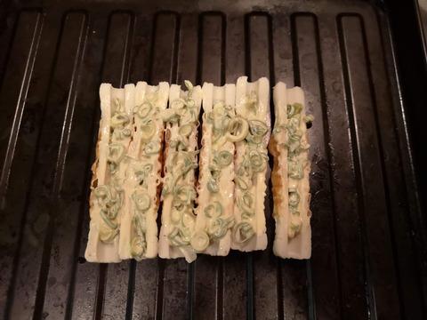 ちくわのネギマヨ焼き (4)