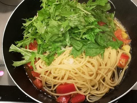 トマトと水菜のパスタ (6)