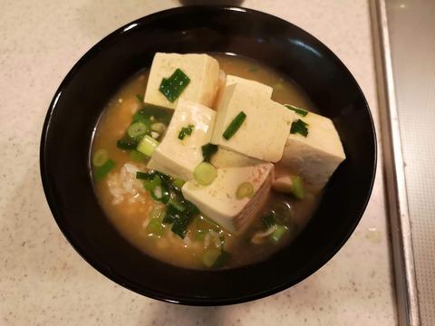 ラーメンスープで豆腐ご飯 (5)