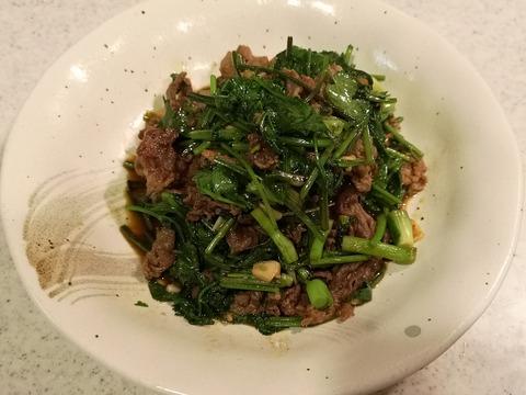 パクチー牛肉のエスニック炒め (8)