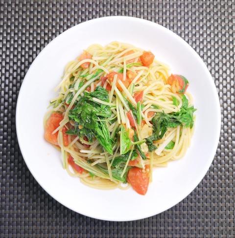 トマトと水菜のパスタ (1)