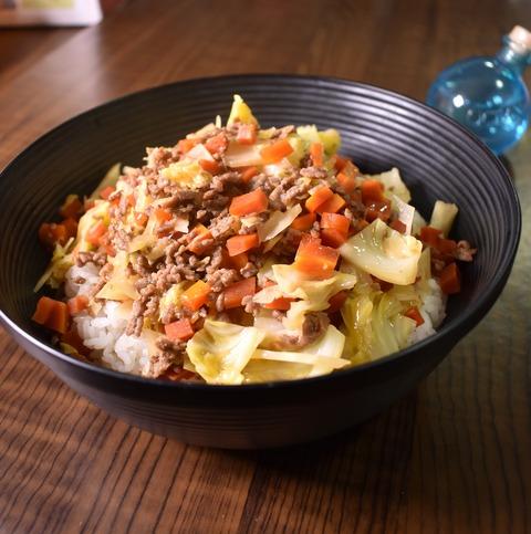 キャベツミンチ丼 (1)