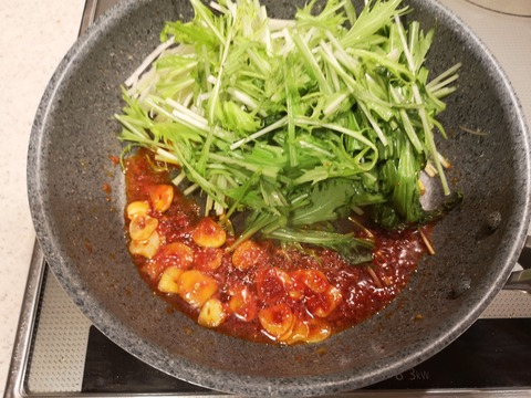 ピリ辛にんにく水菜 (4)