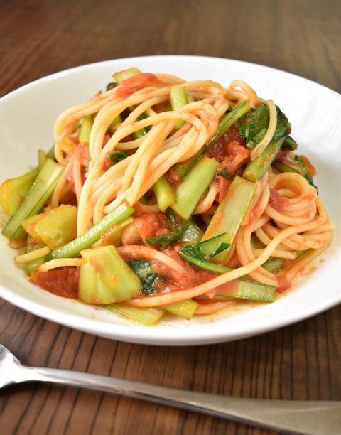 小松菜のトマトパスタ (1)
