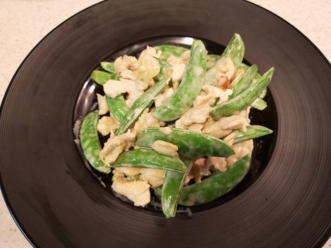 スナップえんどうと鶏肉のマヨネーズ炒め (8)