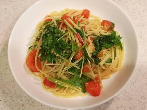トマトと水菜のパスタ (7)