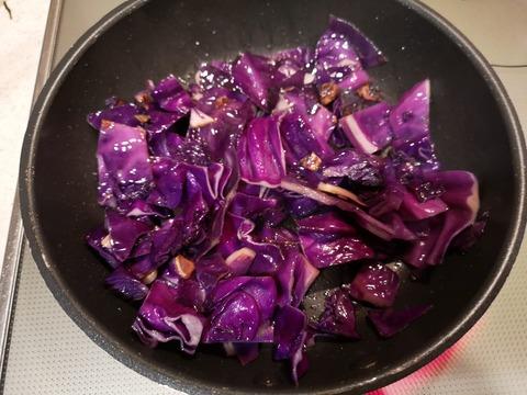 紫キャベツのケチャップ炒め (4)