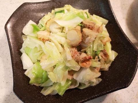 ベビーホタテとキャベツの塩炒め (7)