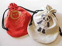 イラスト刺繍入りの手づくり巾着袋