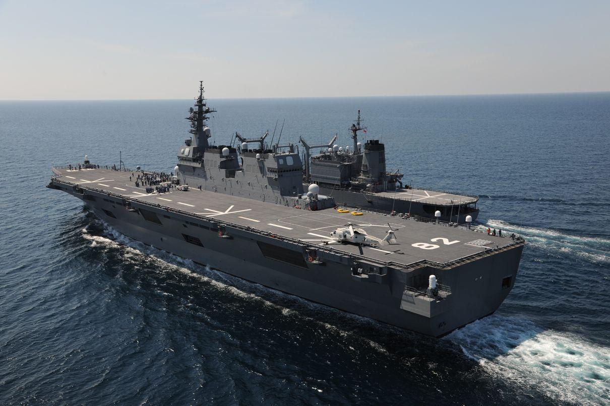 海自最大の護衛艦「かが」就役、全長248mの「ヘリ空母」型 ...