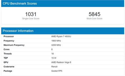AMD Ryzen 7 5800Uフラッグシップ8コアのCezanne「Zen 3」APUのベンチマークがリーク、シングルコアのパフォーマンスで4800Uより最大38%高速