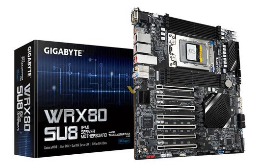 8チャネルメモリを備えたAMD Ryzen Threadripper PRO用Gigabyte WRX80 SU8マザーボードの写真