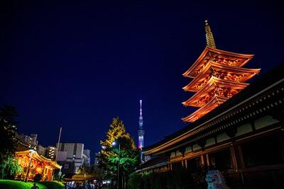 浅草寺と五重塔と東京スカイツリー