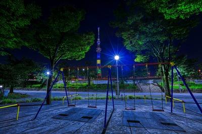 隅田公園からオリンピックカラーの東京スカイツリー