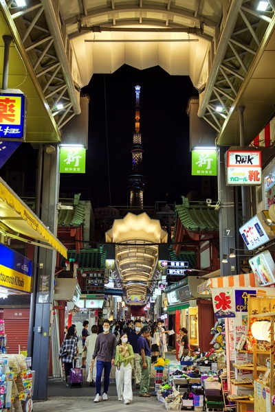 新仲見世商店街から見た東京スカイツリー