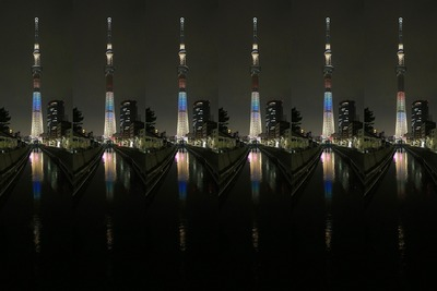 十間橋から見た東京スカイツリーのHAPPYレインボー