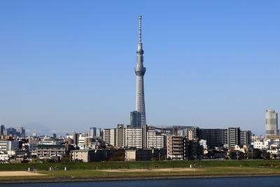 首都高C2から見た東京スカイツリーと富士山