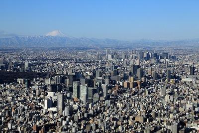 東京スカイツリーから見た秋葉原・富士山方面の眺め