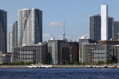 東京五輪の選手村と東京スカイツリー