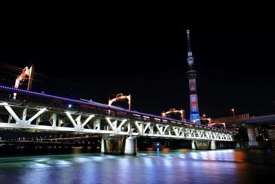 隅田川橋梁とウォーリー特別ライティング