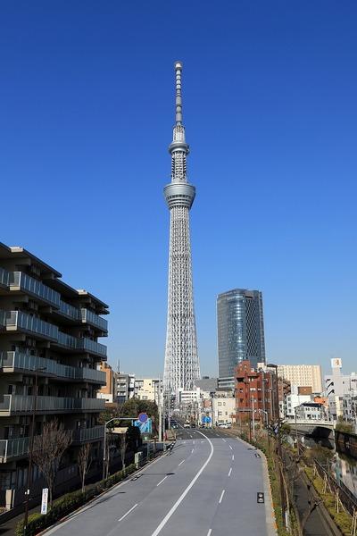 柳橋歩道橋から見た東京スカイツリー