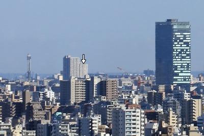 北とぴあから見た東京スカイツリー定点観測所