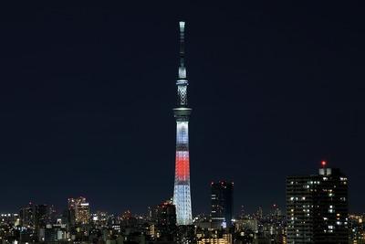 日本国旗をイメージしたライティング