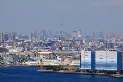 横浜マリンタワーから見た東京スカイツリー