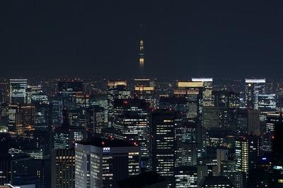 六本木ヒルズから見た東京スカイツリー夜景