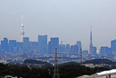 モザイクモール港北の観覧車から見た東京スカイツリーと東京タワー