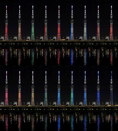 SDGsの17色をイメージした特別ライティング
