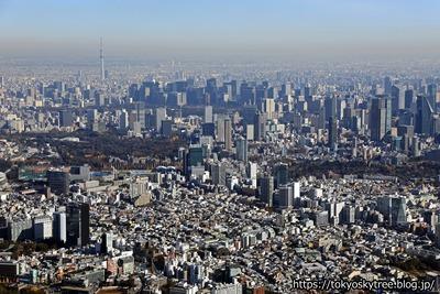 東京の超高層ビル群と東京スカイツリーの空撮
