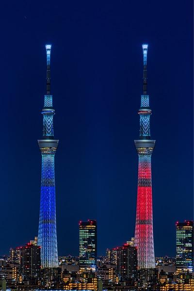 青色と赤色の特別ライティング