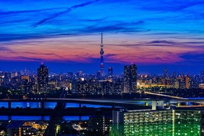 星条旗カラーの東京スカイツリー