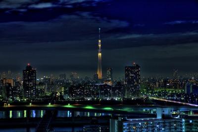 雨上がりの東京スカイツリー夜景「雅」