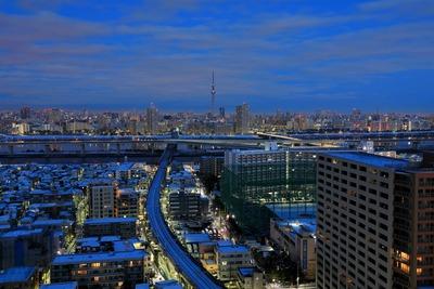 東京スカイツリーと雪化粧した街